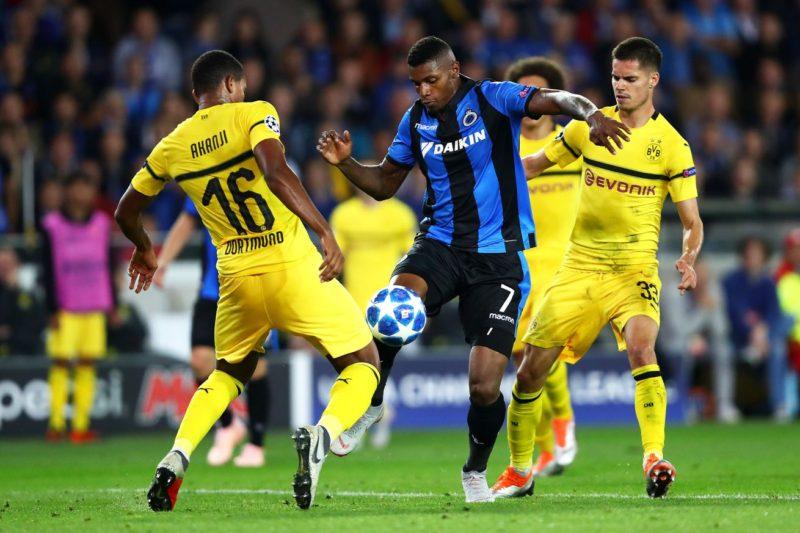 Fază de joc din meciul Club Brugge - Borussia Dortmund, din Liga Campionilor
