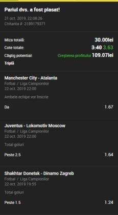 Bilet goluri Unibet 22.10.2019