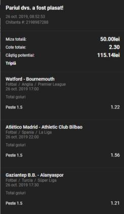 Bilet goluri Unibet 26.10.2019