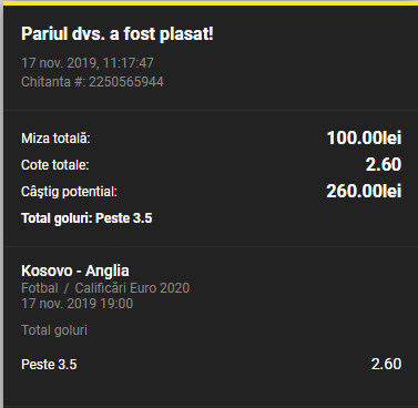 Bilet goluri 17.11.2019
