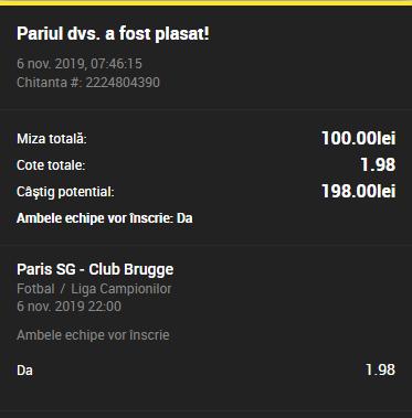 Bilet goluri Unibet 06.11.2019
