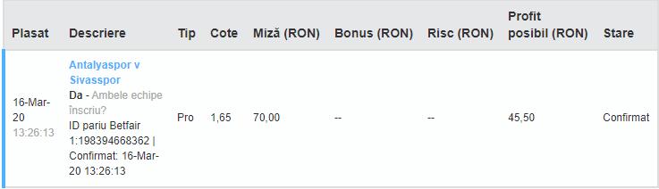 Bilet Exchange 16.03.2020