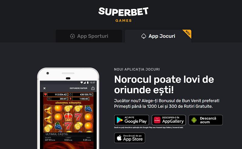 Aplicatie cazinou online Superbet
