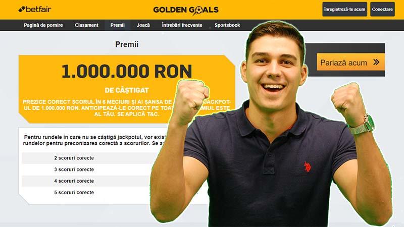 Bonus fără depunere la Betfair. Încasează săptămânal cu Golden Goals
