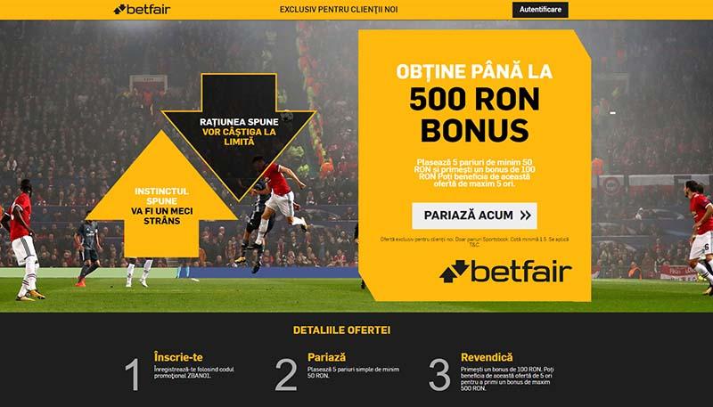 Cod promo pariuri sportive la Betfair. Te așteaptă 500 RON