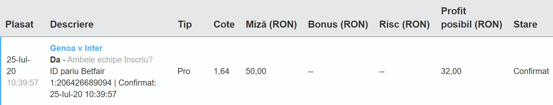 Bilet Exchange 25.07.2020