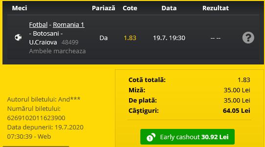 Bilet Fortuna 19.07.2020